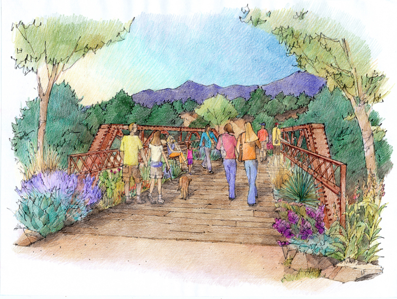 Artistic rendering of bridge over Arroyo de los Pinos