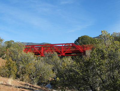 View looking at Kearny's Gap Bridge in Arroyo de los Pinos