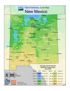 New Mexico USDA Plant Hardiness Zone Map