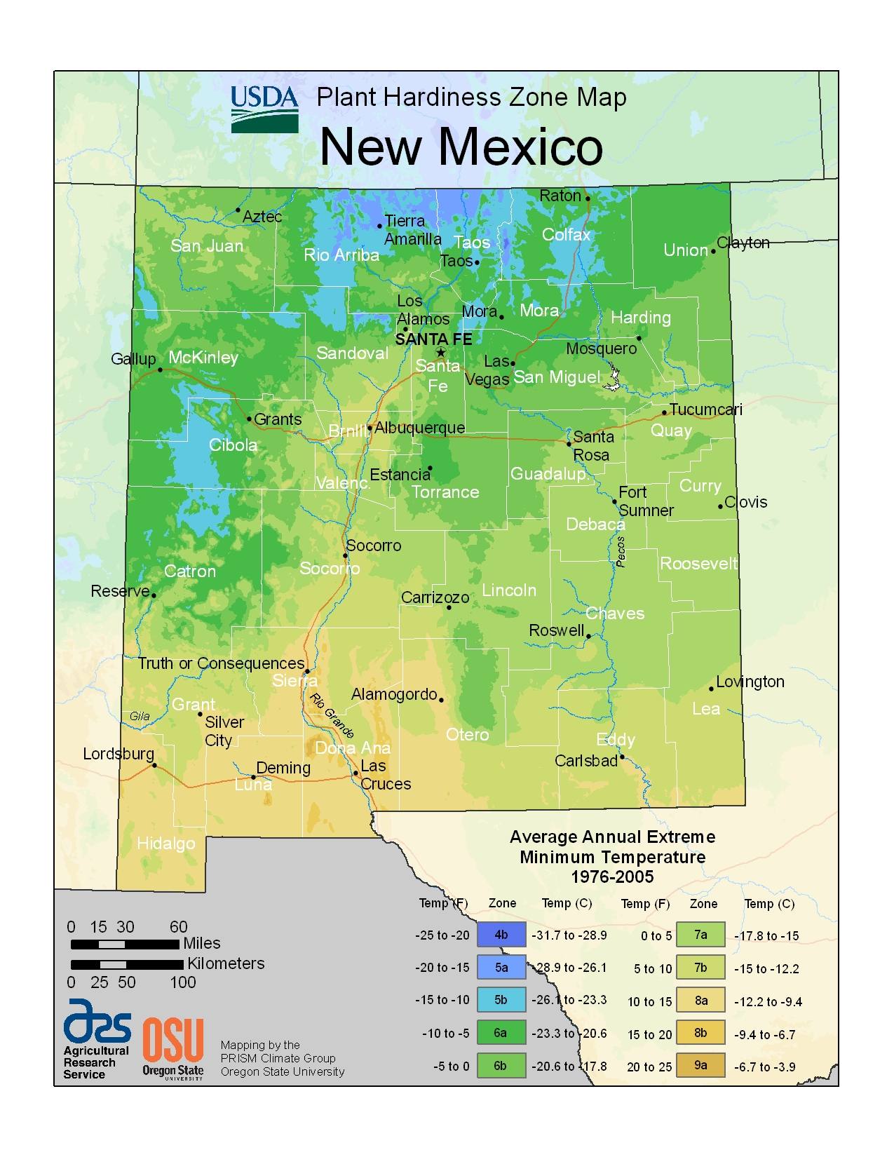 New Mexico USDA Plant Hardiness Zone Map